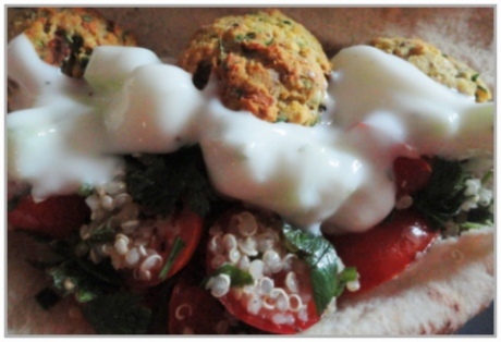 Falafel, tzatziki and tabbouleh in pita bread