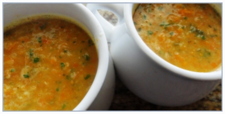 Carrot., lentil and coriander/cilantro soup